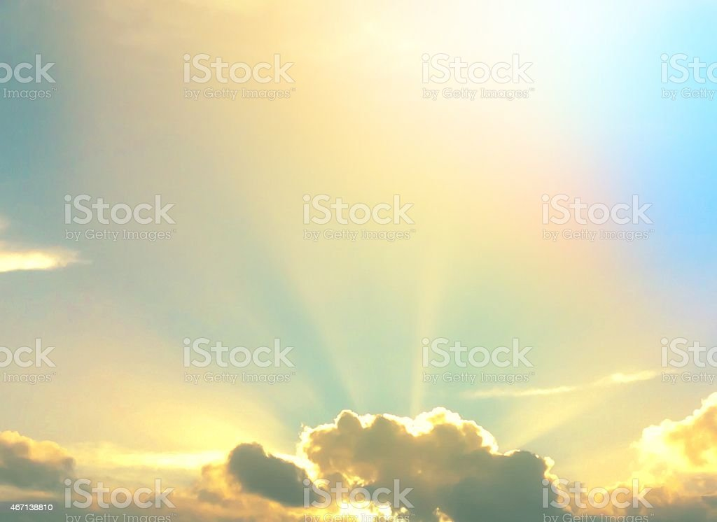 Rainbow in the sky above the clouds stock photo