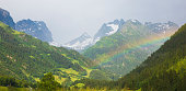 Rainbow in the Swiss Alps