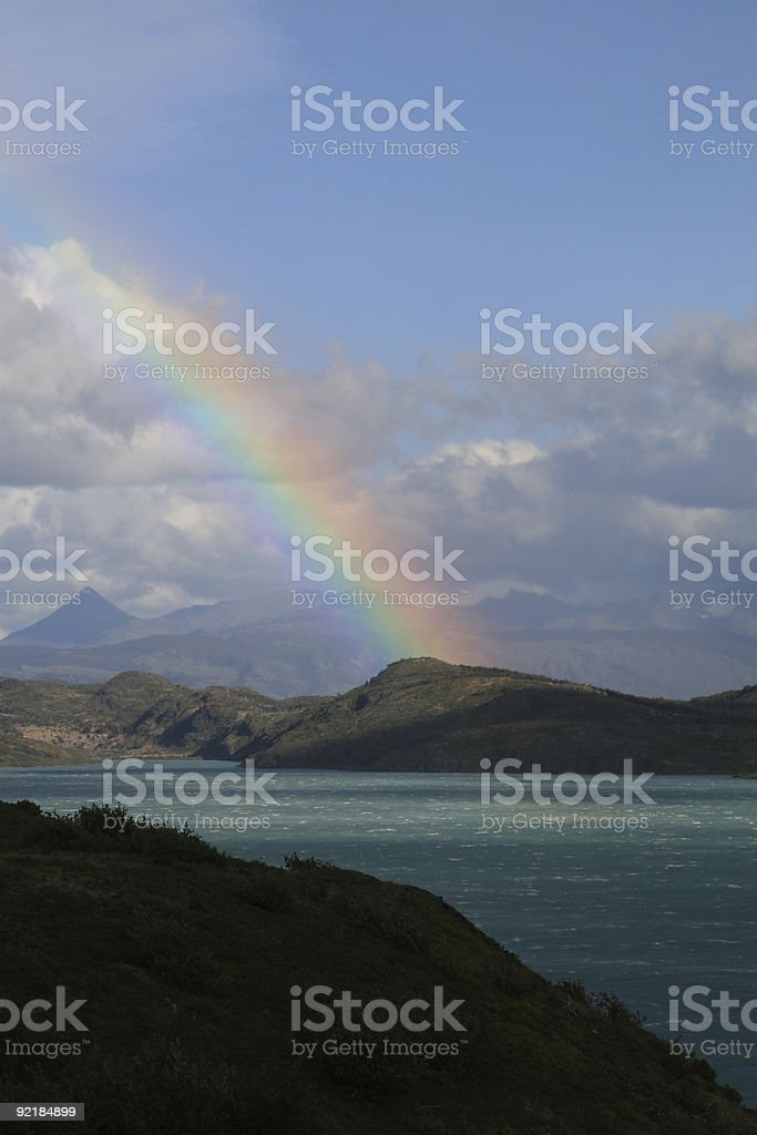 Rainbow in Torres del Paine royalty-free stock photo