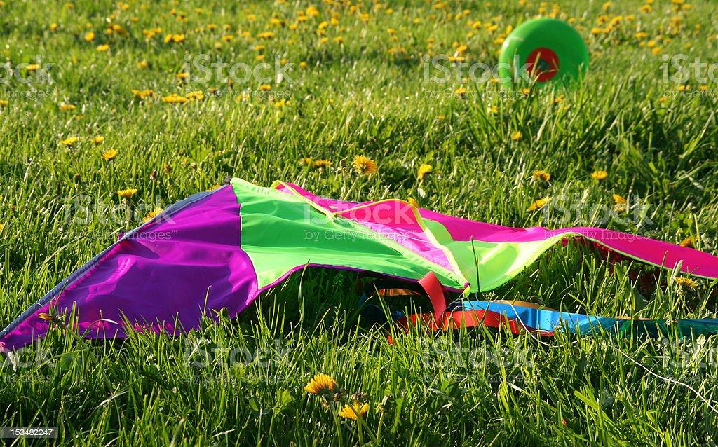 rainbow kite on the grass stock photo
