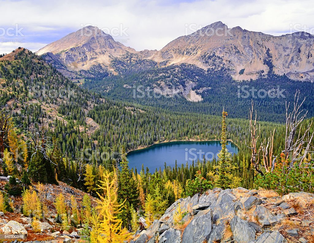 Rainbow Lake, Mount Warren, and Electric Peak stock photo
