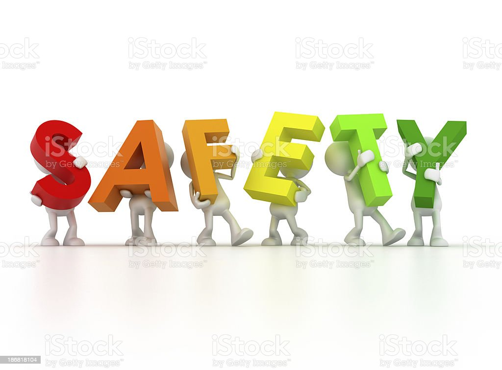 Rainbow letters make up the word safety stock photo