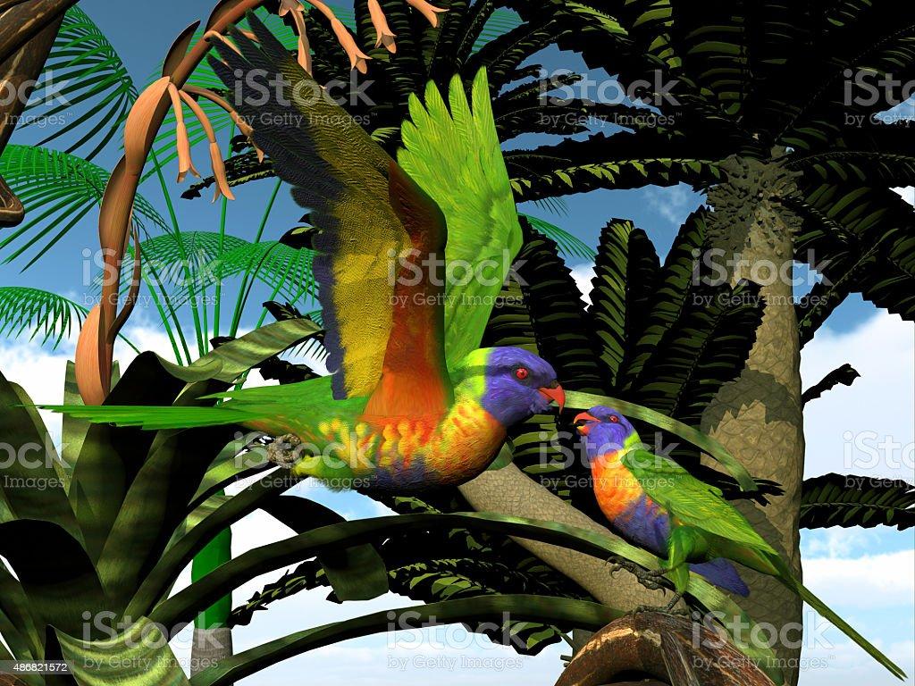 Rainbow Lorikeet Parrots stock photo