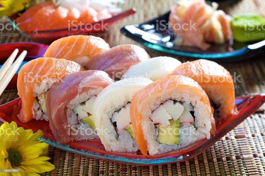 Rainbow Maki Sushi royalty-free stock photo