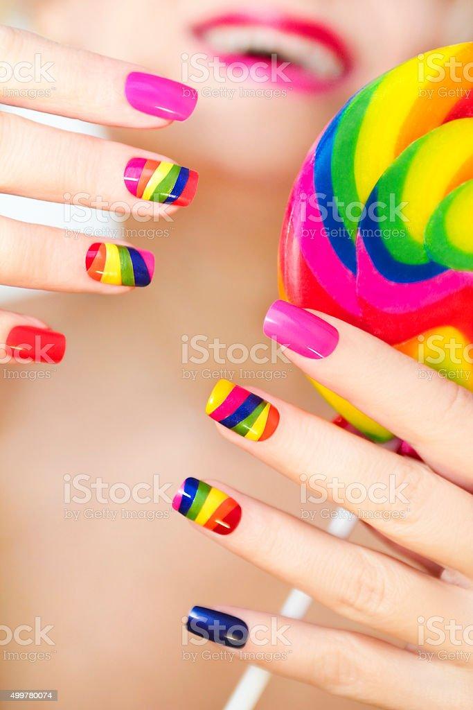 Rainbow manicure. stock photo