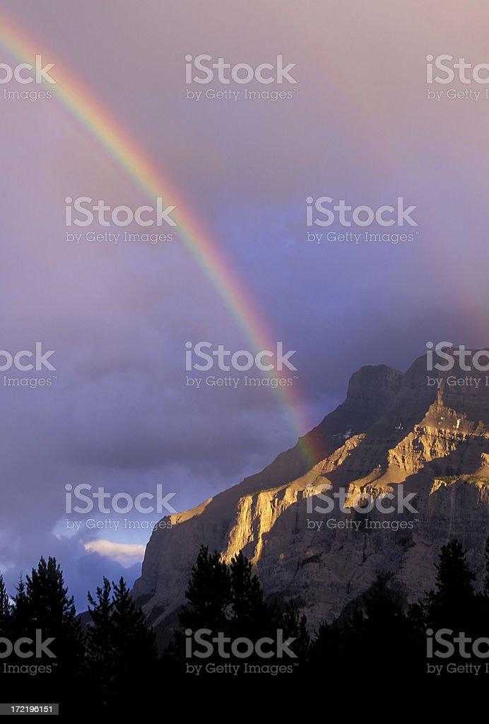 rainbow mount rundle banff national park alberta royalty-free stock photo