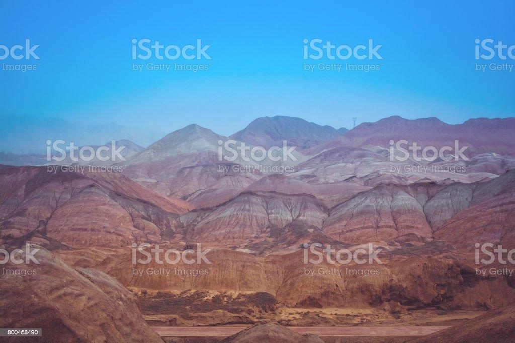 Rainbow Mountain in Zhangye Danxia National Geopark, Gansu Province, China stock photo