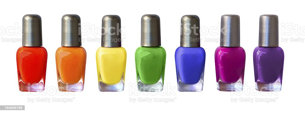 Rainbow nail polish row royalty-free stock photo