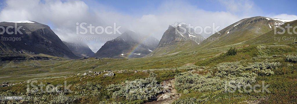 Rainbow near Kebnekaise Mountain stock photo