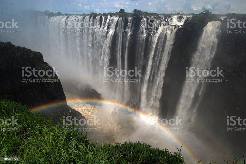 Rainbow near the Victoria Falls, Zambia / Zimbabwe stock photo