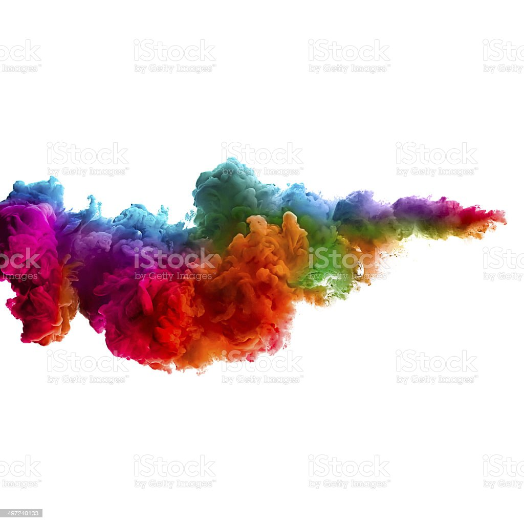 Raoinbow of Acrylic Ink in Water. Color Explosion stock photo