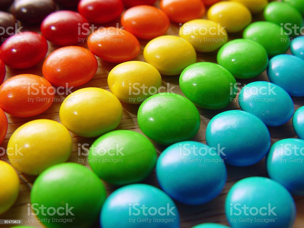 Rainbow of candy stock photo