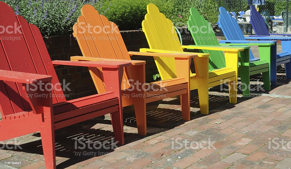 Rainbow of Chairs royalty-free stock photo