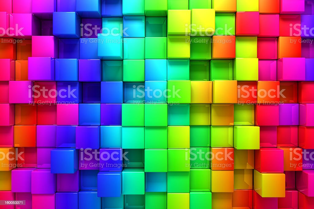 Rainbow of colorful boxes stock photo