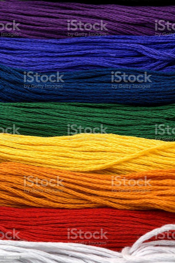 Rainbow of Floss Macro royalty-free stock photo