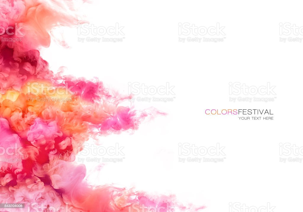 Rainbow of Ink in water. Color Explosion. Paint Texture stock photo