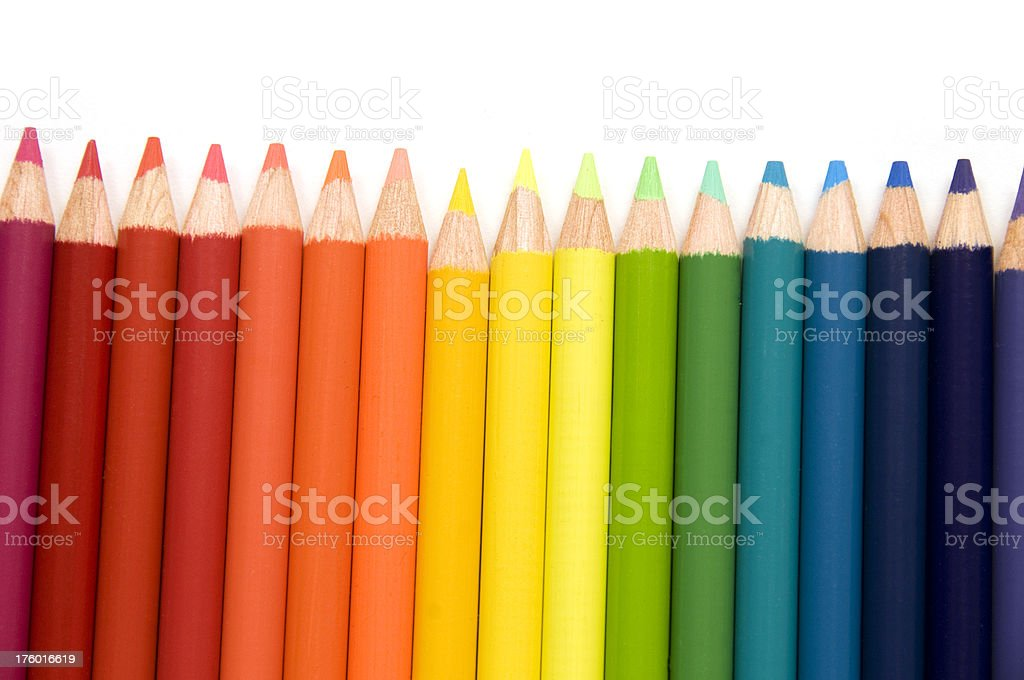 rainbow of pencils in a row royalty-free stock photo