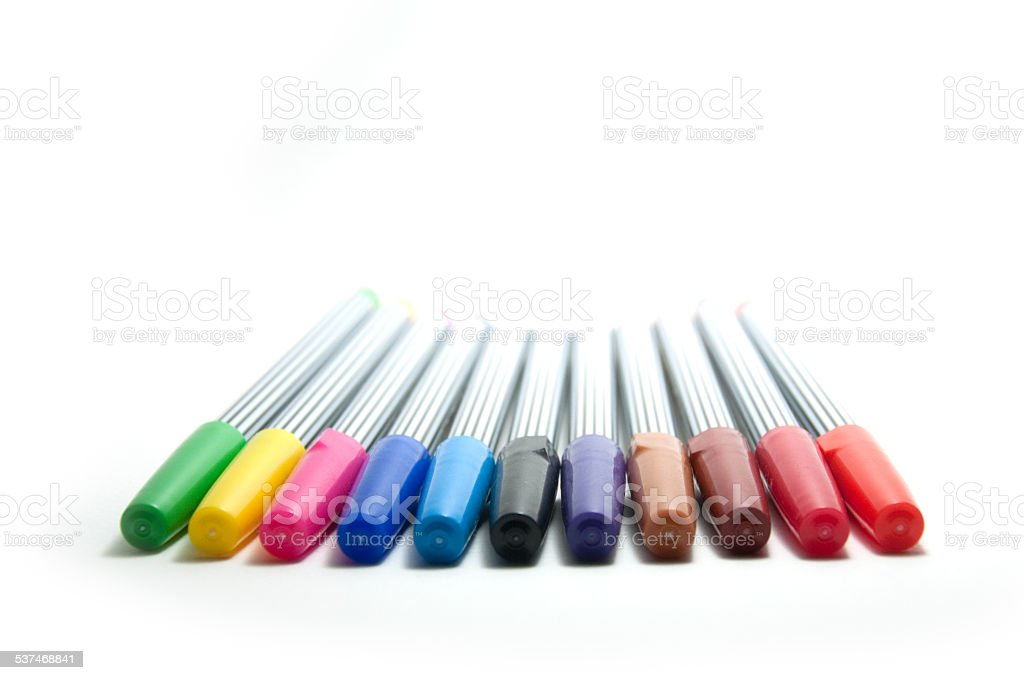 Rainbow of soft-tip pen stock photo