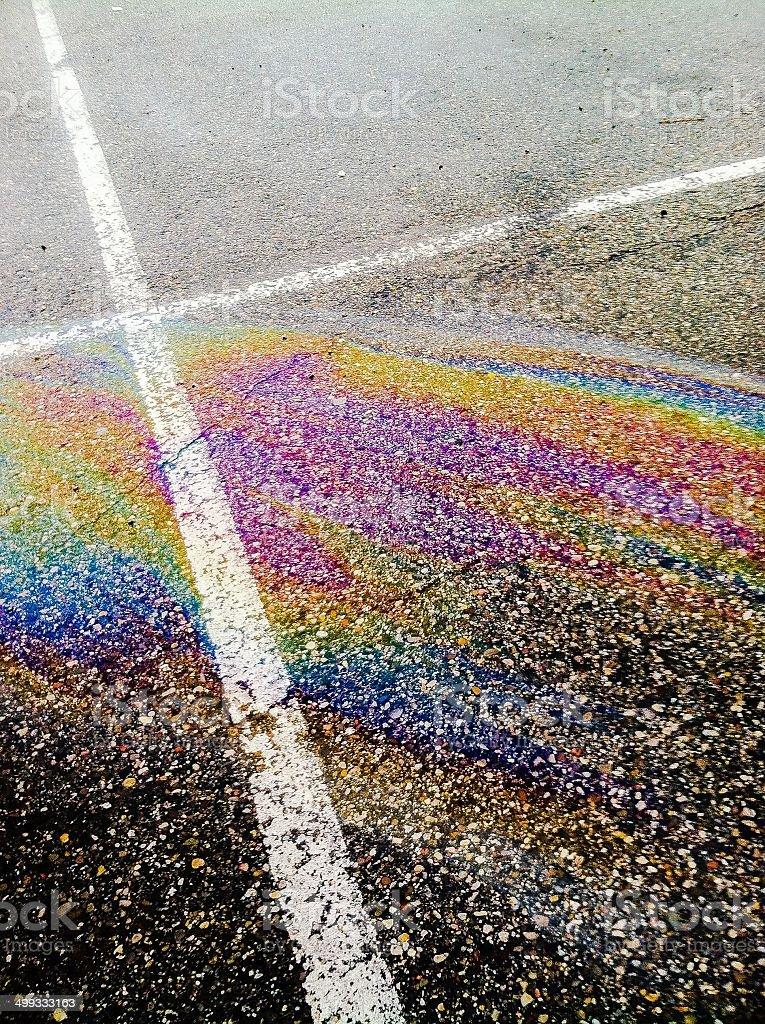 Rainbow on concrete royalty-free stock photo