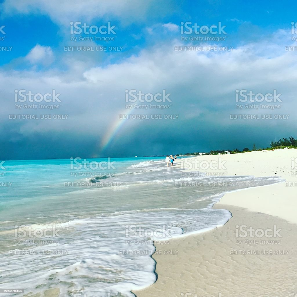 Rainbow on Grace Bay Beach. Turks and Caicos Islands stock photo