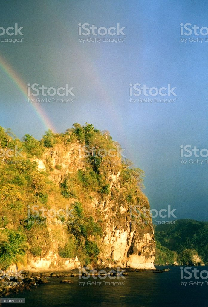Rainbow on high cliffs at Saint Lucia, Windward Islands stock photo