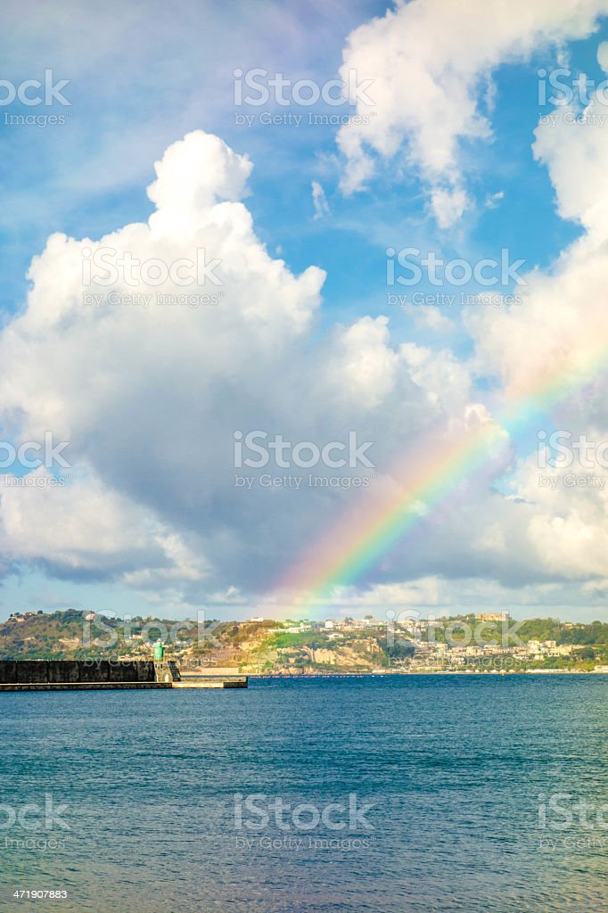 Rainbow on Pozzuoli Harbor stock photo