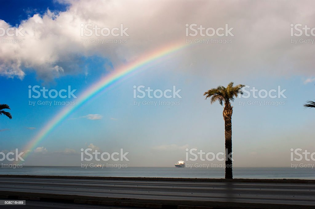 Rainbow on the sea stock photo