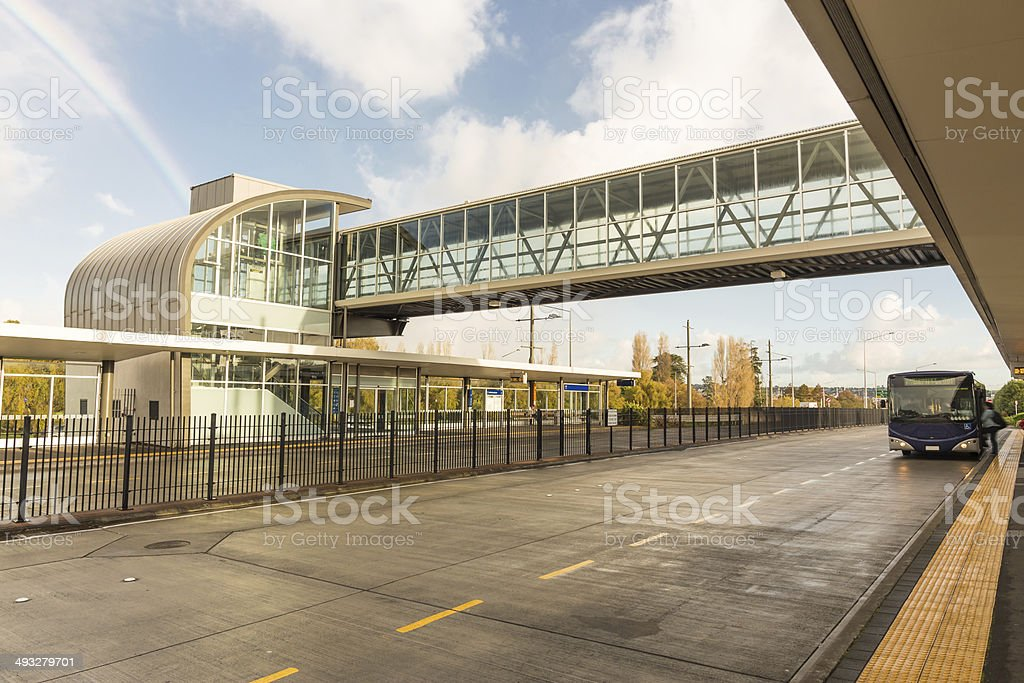 Rainbow over a Modern bus station royalty-free stock photo