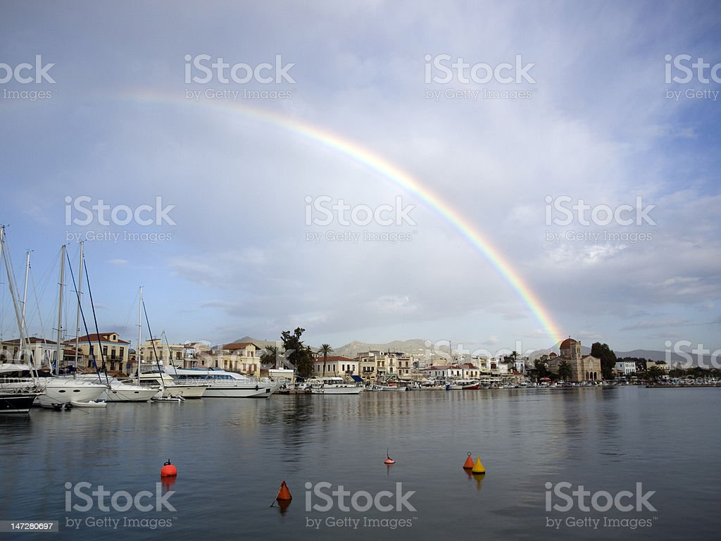 rainbow over Aegina stock photo