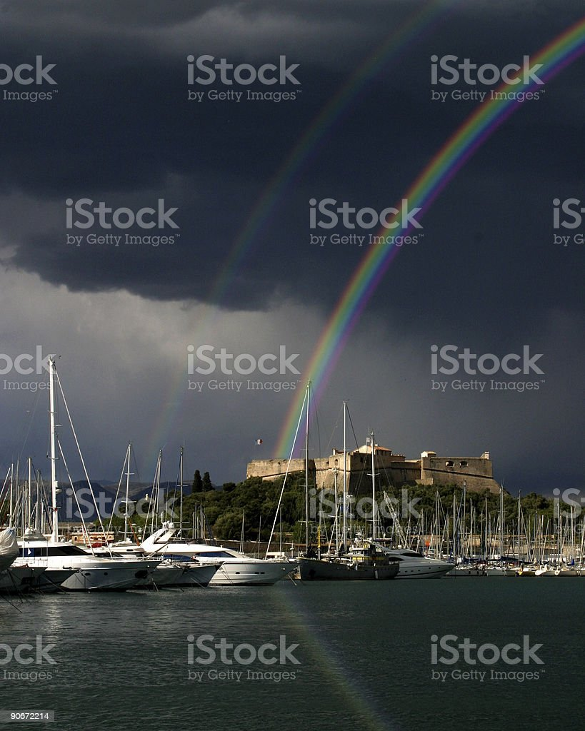 Rainbow over Antibes royalty-free stock photo