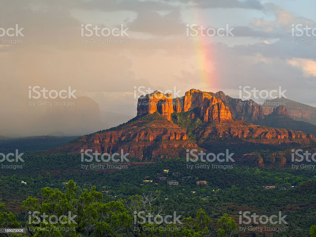 Rainbow over Arizona Scenery stock photo