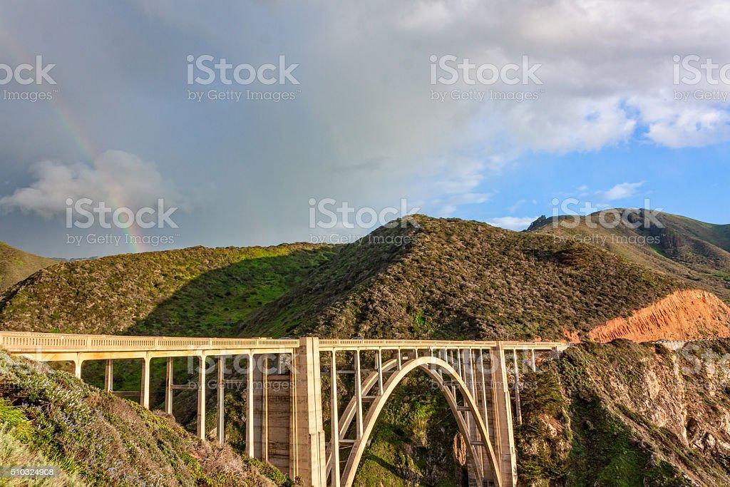 Rainbow over Bixby Bridge stock photo