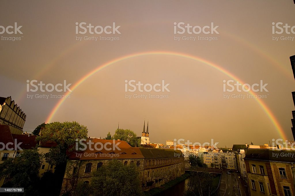 Rainbow over City of Halle royalty-free stock photo