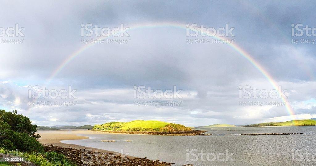 Rainbow over Clew Bay County Mayo Ireland stock photo