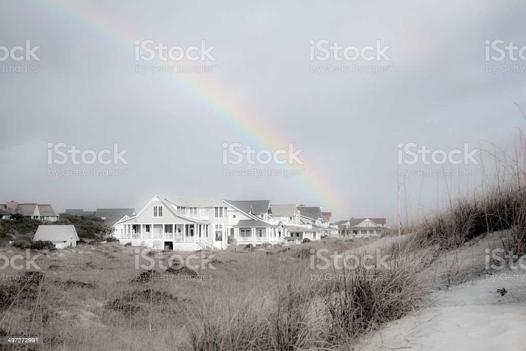 Rainbow Over Condos on Bald Head Island stock photo