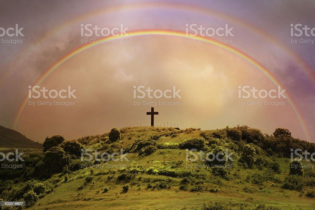 Rainbow Over Cross - Maui Hawaii stock photo