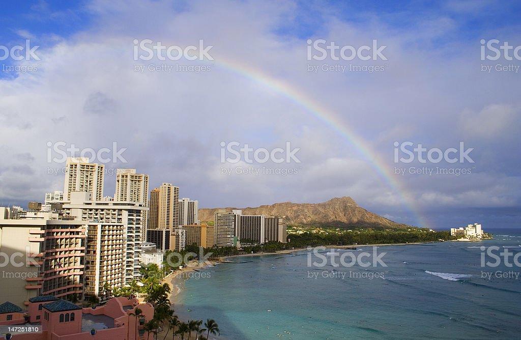 Rainbow Over Diamond Head In Waikiki stock photo