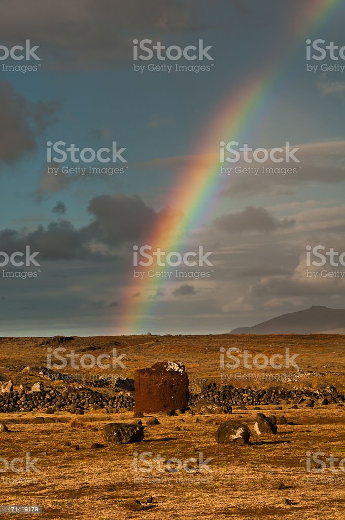 Rainbow over Easter Island with topknot royalty-free stock photo
