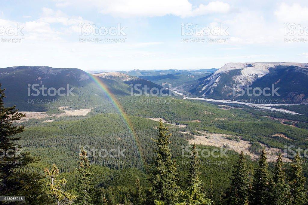 rainbow over Elbow Valley stock photo