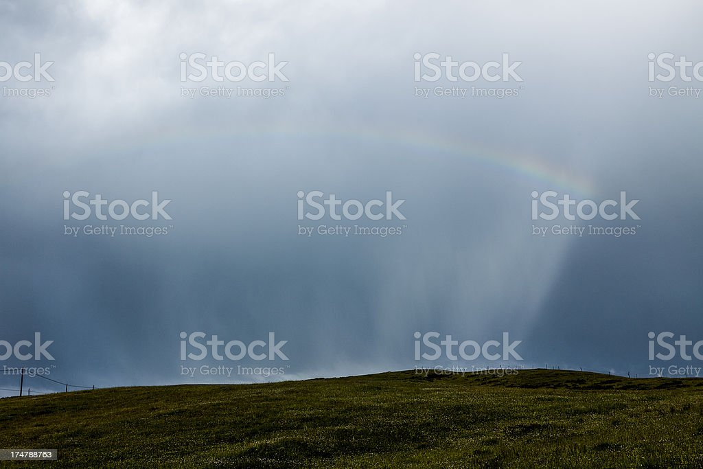 Rainbow over fall landscape royalty-free stock photo