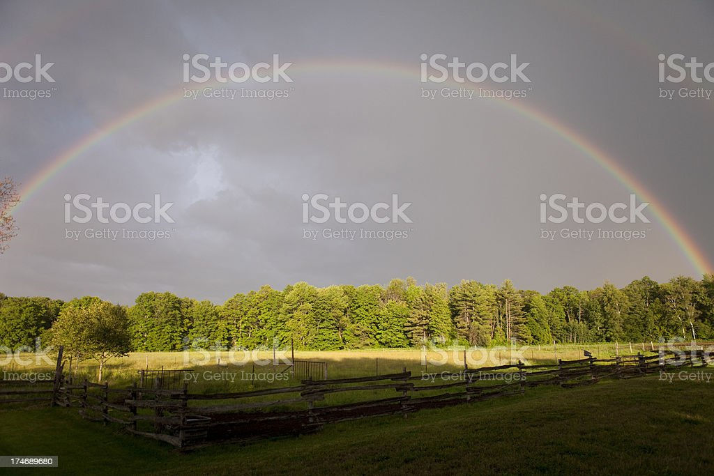 Rainbow Over Farm royalty-free stock photo