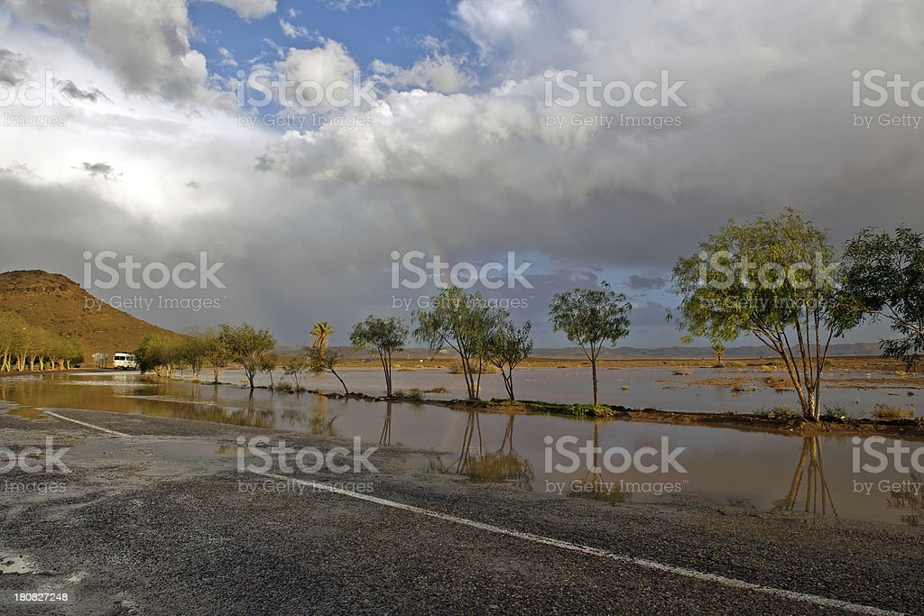 Rainbow Over Flooded Road in Morocco Northern Africa royalty-free stock photo