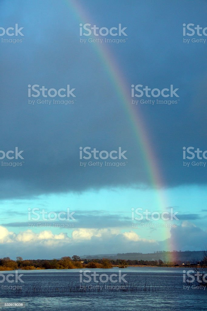 Rainbow over Floodwater stock photo