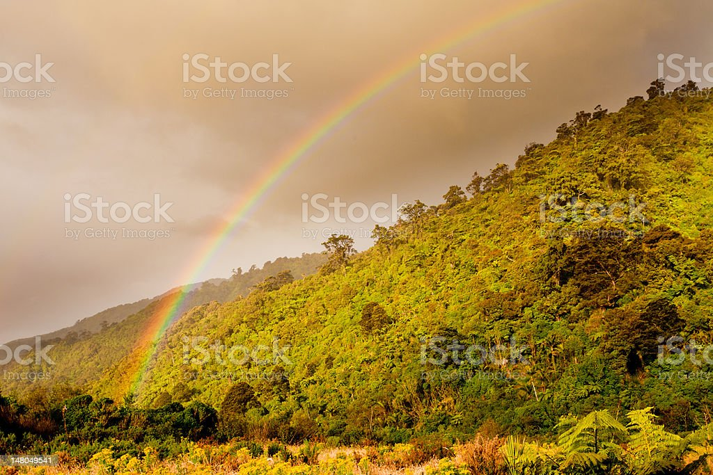 Rainbow over forest foothills, West Coast, NZ stock photo