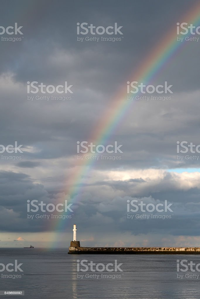 Rainbow over Harbour Entrance stock photo