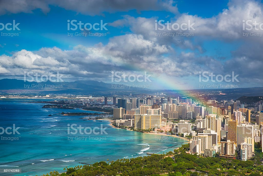 Rainbow over Hawaii stock photo