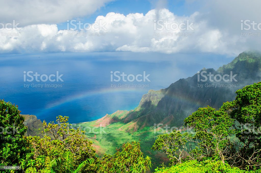 Rainbow over Kalalau Valley stock photo