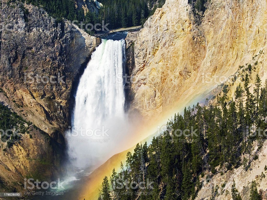 Rainbow Over Lower Falls of the Yellowstone River, Wyoming royalty-free stock photo