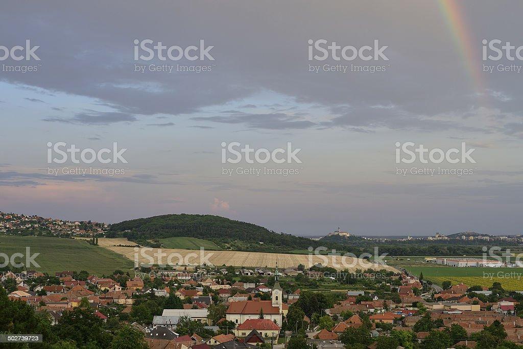 Rainbow over Nitra stock photo