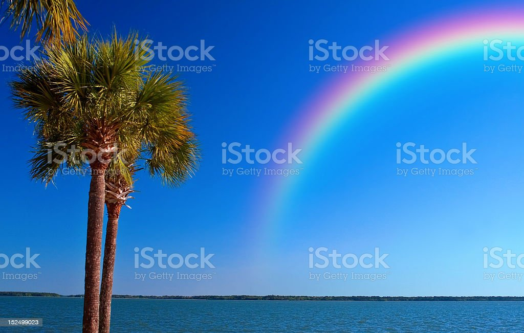 Rainbow over Ocean stock photo